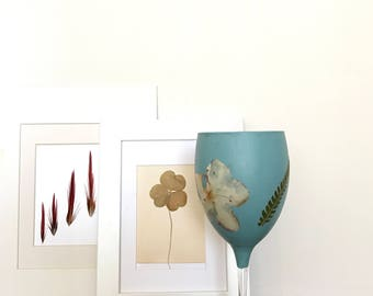 Hand Painted Decorated with Pressed Flowers Wine Glass. Wine Glass and Pressed Flowers.
