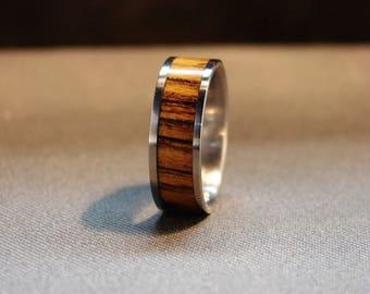 Bocote and Titanium inlay ring, Wood inlay ring, Wood wedding band, Bocote exotic wood ring