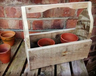 rustic trugs, windowsil herb garden, table display trug, rustic wedding table design, kitchen caddy. Condiment caddy,
