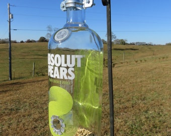 Recycled Absolut Pear Liquor Bottle Bird Feeder, Green and Clear Liquor Bottle, Birdfeeder, Unique, Wine Bottle Bird Feeder