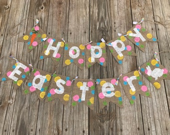 Hoppy Easter Burlap Banner. Easter Decorations. Rabbit and Carrot