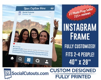 Instagram Frame Printed and Shipped to you. Fully Customized Cutout Photo Booth Prop Instagram Frames for Birthday Parties