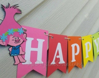 Trolls Birthday, Trolls Birthday Banner, Trolls Banner, Trolls birthday party, trolls, Poppy, Branch, princess poppy banner