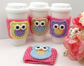 Pink Crochet Cup Cozy with Owl:  Coffee Tea Sleeve (Purple, Tan, White, Blue)    [077]