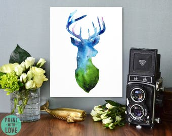 Galaxy Space Stars Deer Antlers Silhouette Watercolor Painting Print Woodland Forest Animal Art