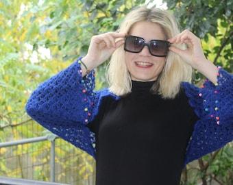 Electric Blue Knit Shrug - Long Sleeves Bolero - Chrochet Bolero -  Beaded Bolero - Crochet Shawl