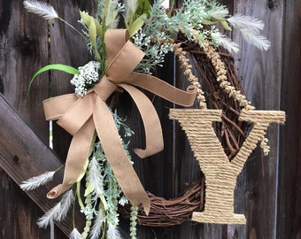 Fall monogram wreath, fall front door wreath, fall wreath, fall burlap wreath, fall floral wreath, burlap front door wreath,farmhouse wreath