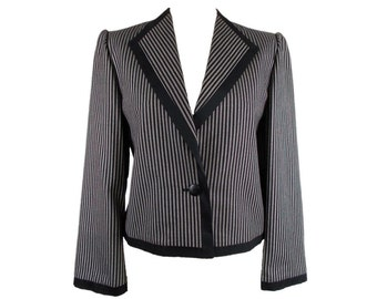 Erle ZF Long Sleeve Striped Collared Jacket Grey & Black UK 12