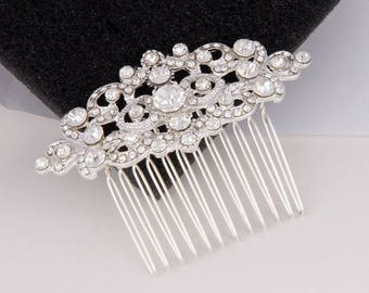 Bridal Hair Comb, Crystal Hair Comb, Bridal Hair Jewelry, Silver Wedding Headpiece, Bridal Hairpiece, Art Deco Hair Comb, Bridesmaid Gift