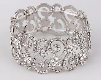 Bridal Bracelet, Rhinestone Wedding Bracelet, Crystal Bridal Bracelet, Stretch Bracelet, Wedding Jewelry, Bridesmaid Bracelet Prom Jewelry