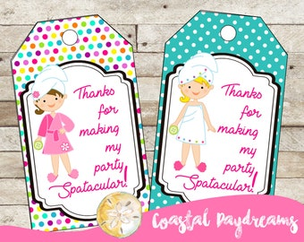 Spa Party Gift Tags, Spa Party Favor Tags, Party labels, Party Tags, Spa Party, Spa Birthday