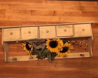 Distressed Wood Coat Hanger Wall Shelf