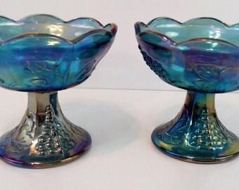 Indiana Carnival Blue Harvest Grape Glass Candlesticks Design Vintage Decoration.