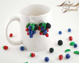 Berry earrings- blueberry, strawberry and blackberry earrings