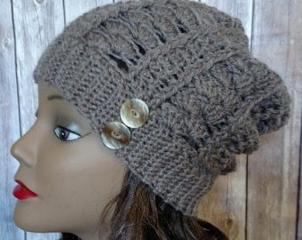 Crochet Women's Taupe Slouchy Beanie