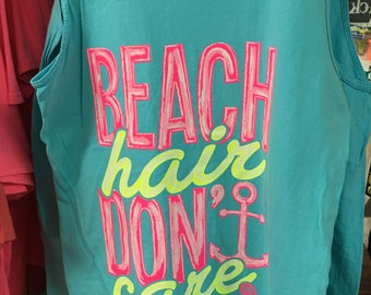 Girlie Girl Beach Hair Don't care tank top NEW