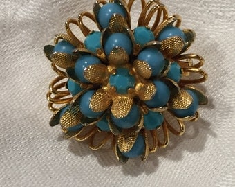 Austrian made vintage turquoise and gold tone brooch
