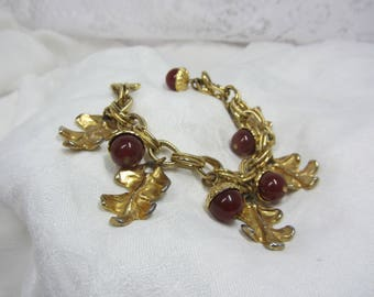 Vintage Dauplaise GT Oak Leaf and Amber Colored Bead Acorn Charm Bracelet