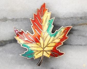 Sterling Silver & Enamel Canadian Maple Souvenir Brooch - BM Co