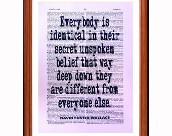David Foster Wallace quote  - dictionary art print home decor present gift christmas