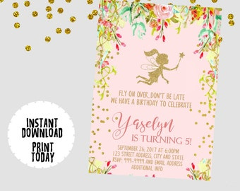 EDITABLE TEXT Fairy Invitation - Fairy Invites -  Fairy Birthday Invitation - Fairy Glitter Invitation -Instant Download