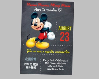 Mickey Mouse Birthday Invitation - Mickey Mouse Birthday Invites - Mickey Mouse Birthday Invite - Instant Download