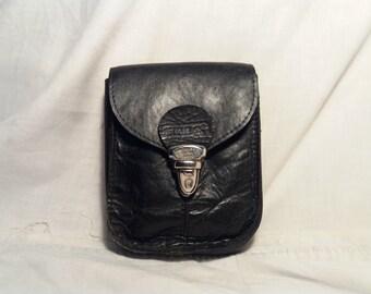 Vintage Black Leather Pouch Belt