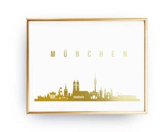 München Print, München Skyline, Real Gold Foil Print, München Cityscape, Skyline Art, Home Decor, Germany Skyline, Gold Germany Art, Germany