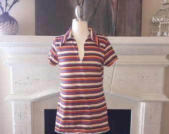 EVERYTHING ON SALE Vintage Multi-Colored Striped Polo Shirt with Zipper Accent Closure