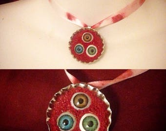 Creepy doll eyes choker necklace on blood stained ribbon christiecreepydolls halloween horror gothic art (no 2)