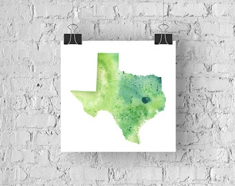 Texas Watercolor Map - Giclée Print of Hand Painted Original Art - 5 Colors to Choose From