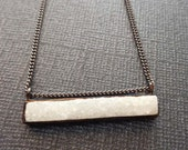 White Druzy Black Bar Necklace / Snow White Druzy / Natural Druzy Black Plated Bar Necklace / Black and White Modern Cool Necklace/GD30