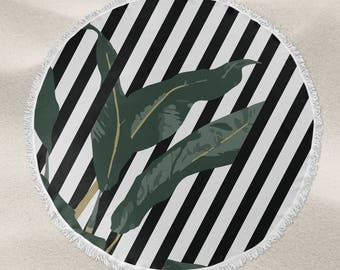 Black and white stripe banana leaf over-sized round beach towel