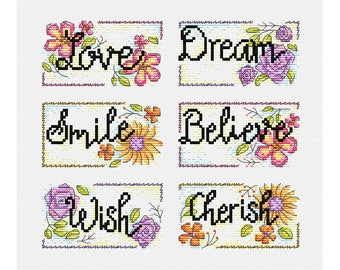 Inspirational Words - Set of 6 - Durene J Cross Stitch Patterns - DJXS 2211