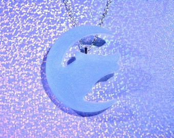 Icy wolf and moon necklace