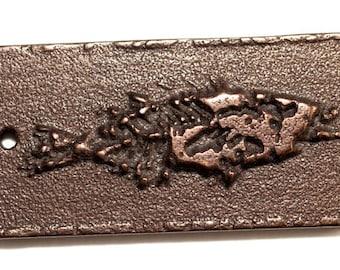 3D Printed Jewelry Fish Fossil Rectangularl Dog Tag Pendant