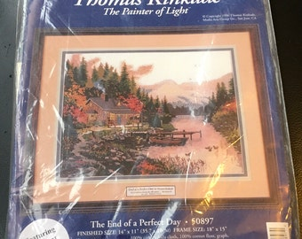 """Thomas Kinkade Cross Stitch Kit The End Of A Perfect Day 50897 14 """" x 11 """" The Painter Of Light Candamar Designs New Sealed"""