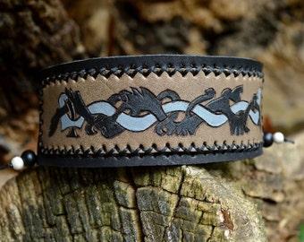 Leather bracelet. Black celtic bracelet. Celtic ornament. Celtic bracelet. Leather celtic bracelet. Celtic snake. Jörmungandr pattern