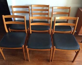Six Mid Century Modern Teak & Birch Chairs.