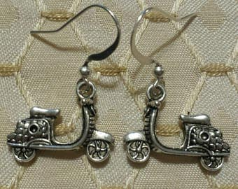 Scooter Earrings Tibetan Silver Dangle Handmade Vespa