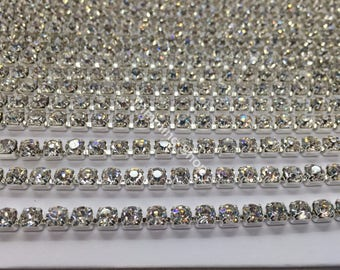 25 Metre Diamante Rhinestone Silver Clear Crystal Diamante Rhinestone Chain Trim