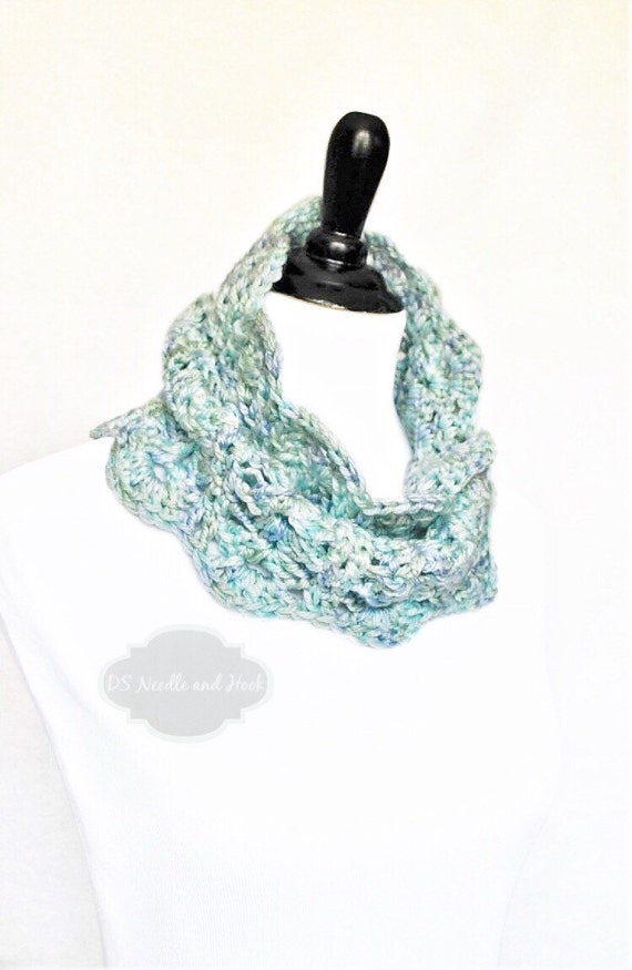 Blue, Purple, Green Crochet Cowl, Scalloped Neck Warmer, Infinity Scarf, Collar - Lacy Crochet