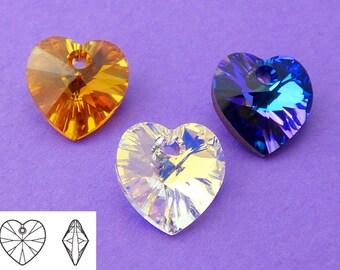 New 10mm Swarovski Mixed Crystal Topaz Heliotrope Heart Beads 6pcs.