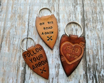 Custom Personalized Key Chain, Leather Key Fob, Leather Arrowhead Key Ring, Key Fob, Handmade Leather Keychain