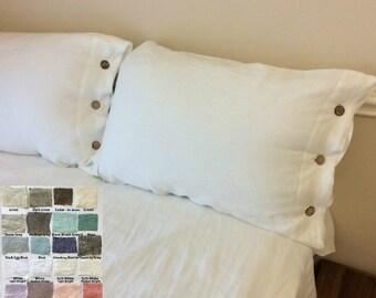 Linen Duvet Cover with Wood Button Closure - Pick your color, Washed linen, Soft linen, queen duvet cover, king duvet cover, linen bedding