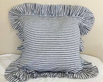 Dark Navy and White Striped Euro Sham Cover with Ruffles, Gorgeous! All sizes available!