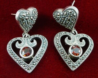 Sterling Marcasite Heart Earrings, Vintage Judith Jack Sterling Silver Marcasite And Garnet Heart Earrings