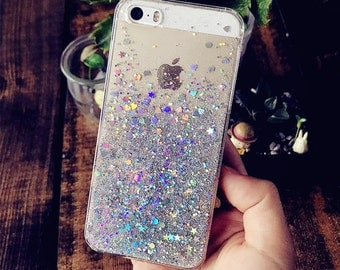 Holographic Phone Case | Glitter iPhone 7 Plus Case Cute Clear iPhone 6s Case Sparkle iPhone 5s Case SE Case Bling iPhone Plus Case Hologram
