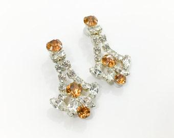 50s Rhinestone Earrings | Drop Clip Earrings | Topaz and Clear Rhinestones