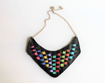 Rainbow Leather Bib Necklace, Multicolor Leather Bib, Rainbow Leather Necklace , Original Bib Necklace